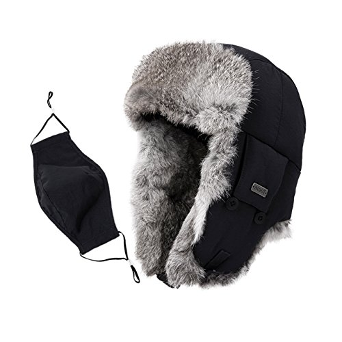 SIGGI Unisex 100% Rabbit Fur Trapper Ushanka Russian Hat Nylon Shell Windproof