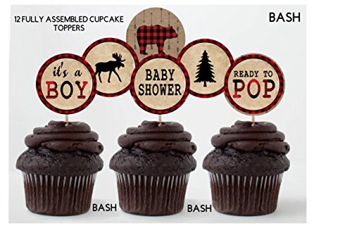 Lumberjack Inspired Cupcake Toppers - Lumberjack Banners - Party Stickers - Baby Shower - First Birthday - 12 Fully Assembled Cupcake - Cupcake Assembled