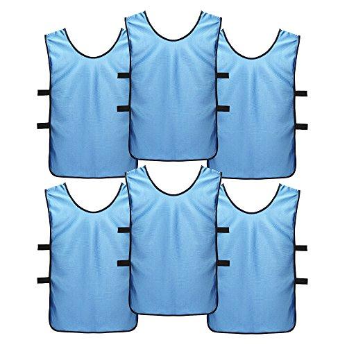 SportsRepublik Pinnies Practice Scrimmage Vests (6-Pack) - Last Longer and Look Cooler - Soccer,Arctic Blue,L (Adult age 12+)