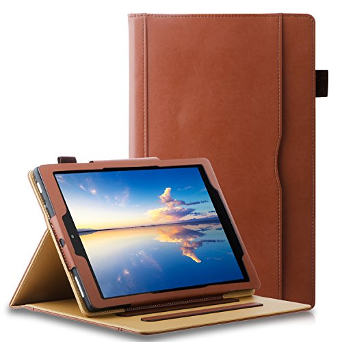 All New HD 10 Tablet Case(7th Generation,2017 Release),ZTOZ Multi-Angle Viewing Slim Folio Stand Premium Leather Business Cover Cases With Pocket and Pencil Holder - Brown