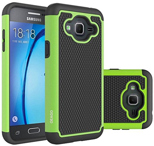 Galaxy J3 Case, Galaxy Amp Prime Case, Galaxy Express Prime Case - OEAGO Shock-Absorption Dual Layer Defender Protective Case Cover For Samsung Galaxy J3 (2016) / Amp Prime / Express Prime - Green