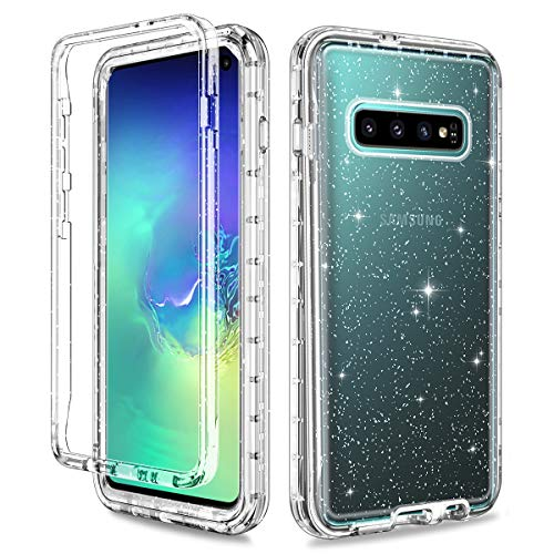 Lontect for Galaxy S10 Case Glitter Crystal Clear Sparkle Bling Heavy Duty Shockproof Hybrid Hard PC+Soft TPU Dual Layer Protective Case Cover for Samsung Galaxy S10, Clear/Silver Glitter