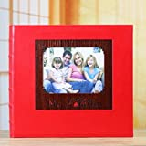 LJ&L High-grade artificial leather cover album, small window can replace the photo, the classic interstitial album, can accommodate 5 to 7 inches of a total of 680 photos,red