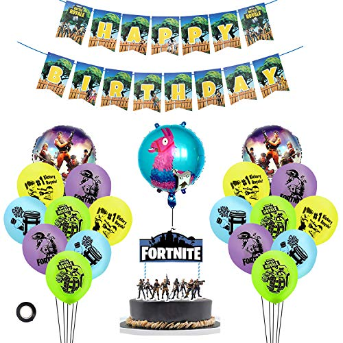 Wirezoll 25 Pack Gaming Party Supplies Set,16 Latex Party Balloons /3 Foil Balloons/1 Birthday Cake Flag/2 Banners Pull Flag,Video Game Cake Topper for Gaming Birthday Party Decorations]()