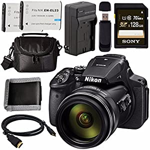 Nikon COOLPIX P900 Digital Camera 26499 + EN-EL23 Lithium Ion Battery + External Rapid Charger + Sony 128GB SDXC Card + Small Case Bundle