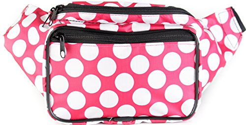 Price comparison product image SoJourner Fanny Pack Waist Bag - Polka Dot Festival Packs for men,  women / Cute Fashion Belt Bum Bags (pink)