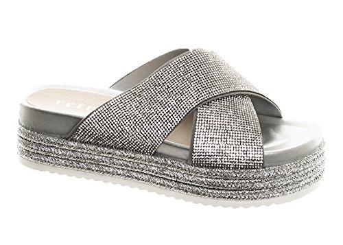 Fuchia boutique Women's Silver Diamante Cross Over Flatform Espadrille Platform Glitter Summer Sandals 3 4 5 6 7 8 Silver 3TY5878