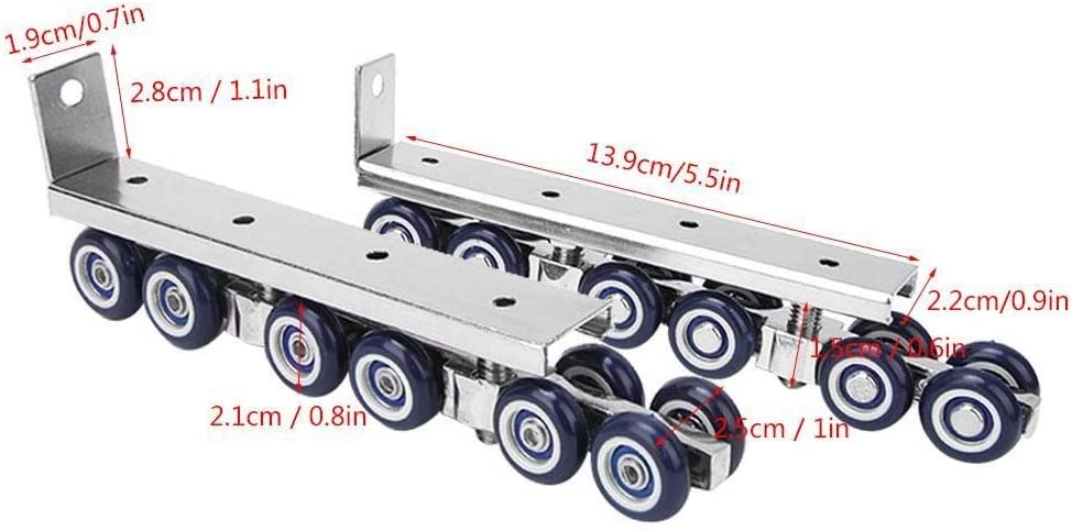 Maxmartt 1 Pair 12 Wheels Sliding Door Rollers Hardware Hanging Wheels Silent Rail Wheel