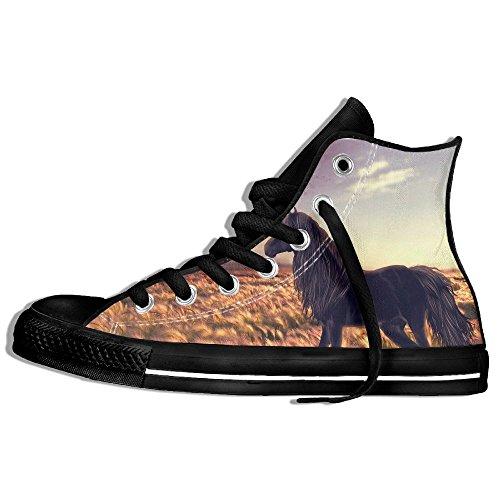 Classiche Sneakers Alte Scarpe Di Tela Anti-skid Unicorno Da Cavallo Casual Da Passeggio Per Uomo Donna Nero