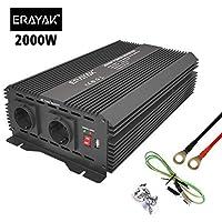 ERAYAK Inversor de Corriente 2000W (Pico 4000W), Convertidor, Transformador, 12v 220v Inverter, Con Puerto USB Con 2 AC…