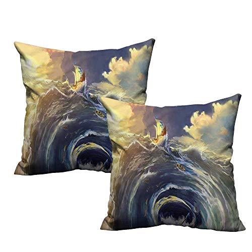 (HeKua Nautical,Breathable Pillowcase Ship Whirlpool Maelstrom 18