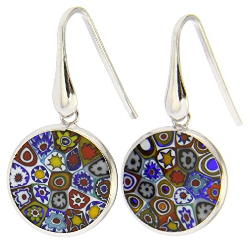 - GlassOfVenice Murano Glass Millefiori Round Dangle Earrings Multicolor - Silver