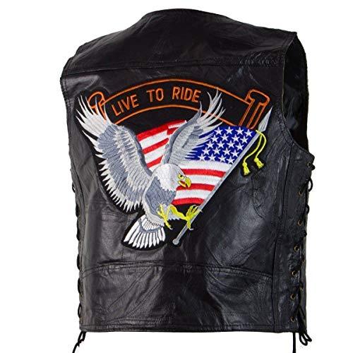 M Collection 287309 'Live To Ride' Men's Black Leather Vest - 3X-Large ()