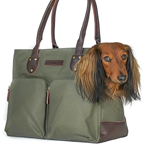 DJANGO Dog Carry Bag - Waxed Canvas and Leather Soft-Sided Pet Travel Tote with Bag-to-Harness Safety Tether & Secure Zipper Pockets (Medium, Olive Green)