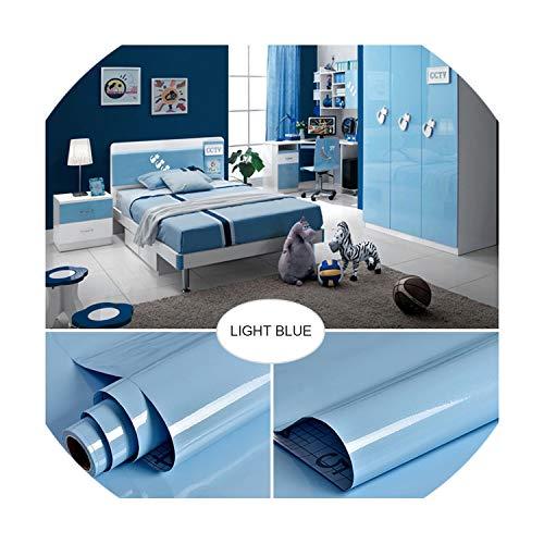 Decorative Film Self Adhesive Wallpaper Modern Furniture Renovation Stickers Kitchen Cabinets Waterproof Wall Paper,Light Blue,5m x 60cm -
