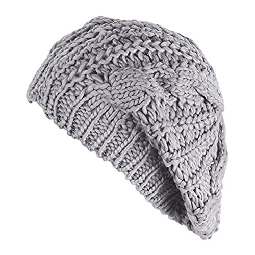- Senchanting Women Lady Beanie Crochet Hat Fashion Winter Warm Knit Wool Beanie (Light Gray)