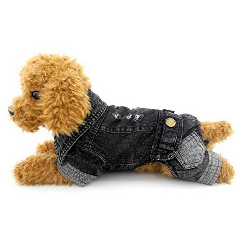 Ranphy Small Dog Overalls Four Legged Denim Jumpsuits Dog Coat Fleece Lined Jeans Chihuahua Clothes Thick S