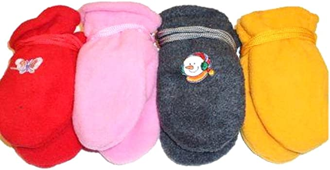Set of Four Pairs Fleece Mittens Gloves for Infants Ages 6 Months to 2 Years