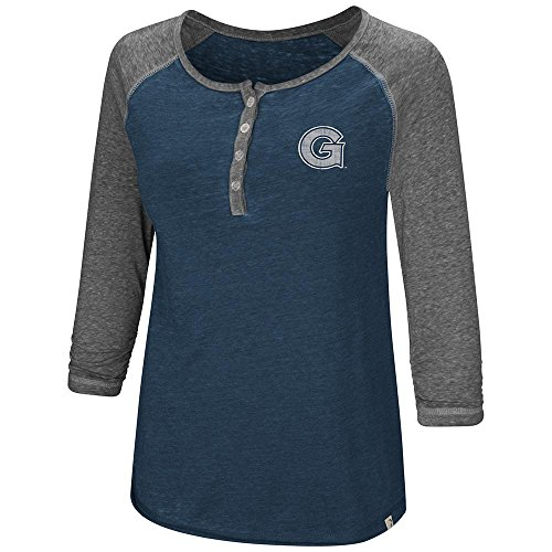 Colosseum Womens Georgetown Hoyas Henley 3/4 Long Sleeve Tee Shirt - - Sleeve Football 3/4