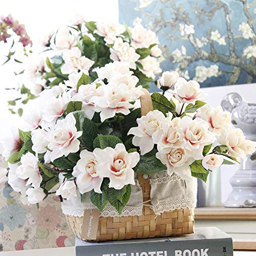 DecoForU-2-Packs-Artificial-Flowers-Gardenia-Silk-Flowers-Arrangements-for-Home-Wedding-Party-Decoration-Pink