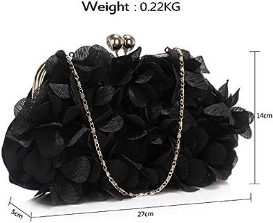 Satin Floral Clutch Bag Womens Bridal Party Evening Handbag Flowers Bridesmaid New