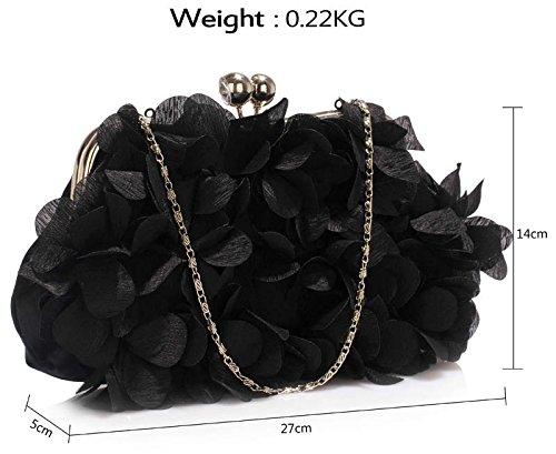 New 1 Floral Satin Handbag Party Bag Womens Bridal Clutch Bridesmaid Design Flowers Black Evening 7vwdqrv