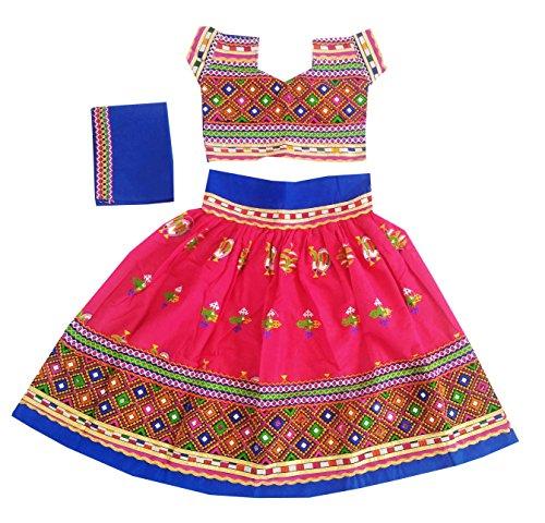 Nandi Women Cotton Peacock Kutchi Embroidered Work Kids Chaniya Choli 28 Pink