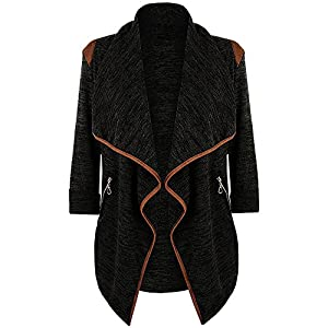 Clearance! Pengy Womens Knitted Casual Long Sleeve Tops Cardigan Jacket Outwear Plus Size (L2, Black)
