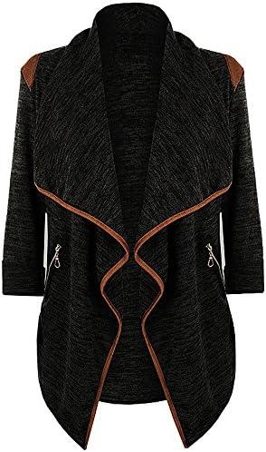 ZOMUSA - Suéteres casuales de manga larga de punto, para mujeres y niñas, Abrigo de abertura delantera