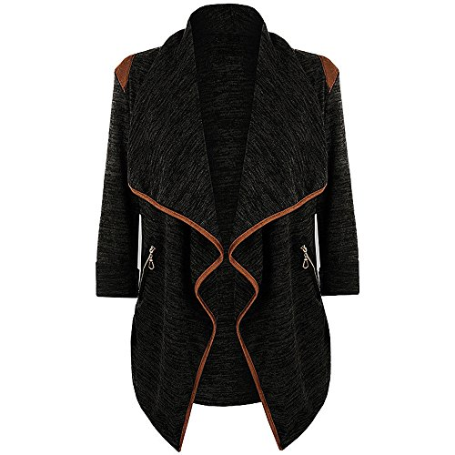 (JESPER Womens Winter Knitted Casual Long Sleeve Waterfall Collar Cardigan Jacket Outwear Black)