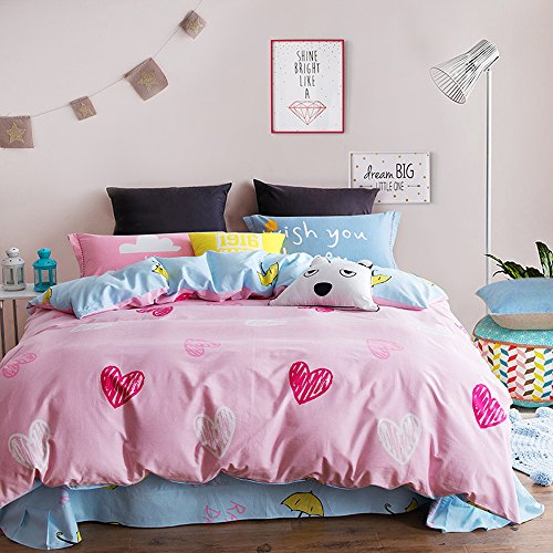 Mumgo Home Textile Bedding for Adult Kids Heart Print Pink Duvet Cover Set 100% Brush Cotton 4 Pieces , Queen Set without Comforter or Filling