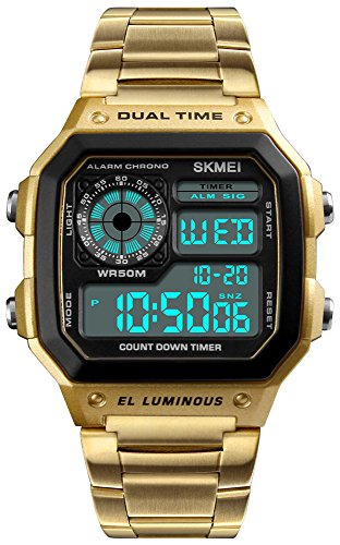 Men's Luxury Digital Quartz Waterproof Wrist Watches Dual Time Countdown Alarm Stopwatch Backlight Multi-Function Watch (Gold)