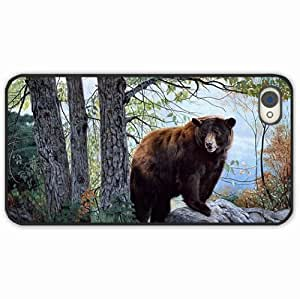 iPhone 4 4S Black Hardshell Case forest trees Desin Images Protector Back Cover