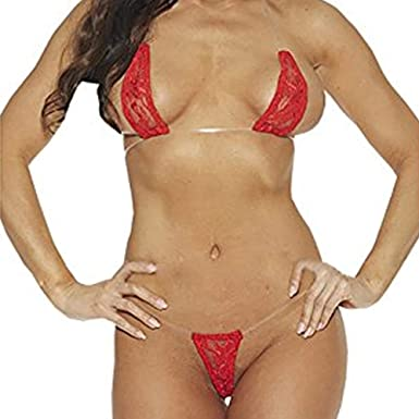 d60006592dee LvBo Womens Halter Lace Bra and Panty Set Sheer Micro Bikini Sexy Lingerie ( Red,