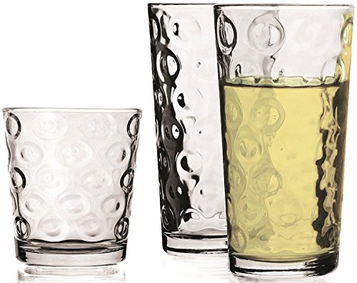 Circleware 44094 Huge Set Highball Tumbler Drinking Glasses and Whiskey Cups, Party Glassware, 8-15.7 oz/8-12.5 oz, Clear (16 Piece)