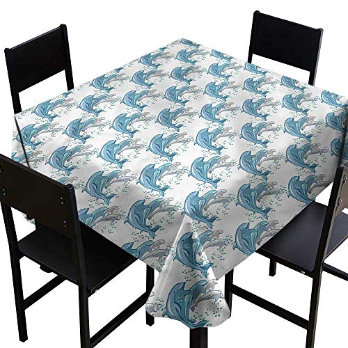 Dolphin Anti-Fading Tablecloths Jumping Swimming Mammals Party Decorations Table Cover Cloth 50 x 50 Inch