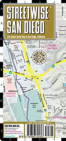 Streetwise San Diego Map - Laminated City Center Street Map of San Diego, California - Folding pocket size travel map with trolley (A Sense Of Direction Ball)