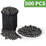LuckIn Slingshot Ammo Balls 3/8 inch, 10mm Hard Clay Ball Biodegradable with Carrying Bag, Soil Color, 500 Pcs