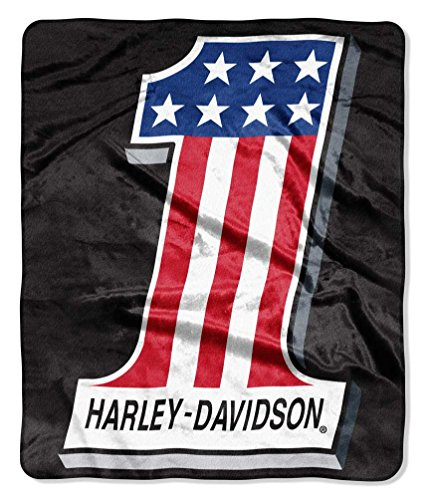60' Micro Raschel Blanket - The Northwest Company Harley-Davidson #1 Flag 'Topnotch' Biker Throw Blanket, 50 x 60 inch NW949140