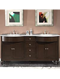 silkroad exclusive marble top double sink bathroom vanity with dark walnut finish cabinet 72