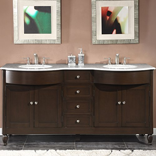 Silkroad Exclusive HYP-0717-WM-UWC-72 Marble Top Double Sink Bathroom Vanity with Dark Walnut Finish Cabinet, 72