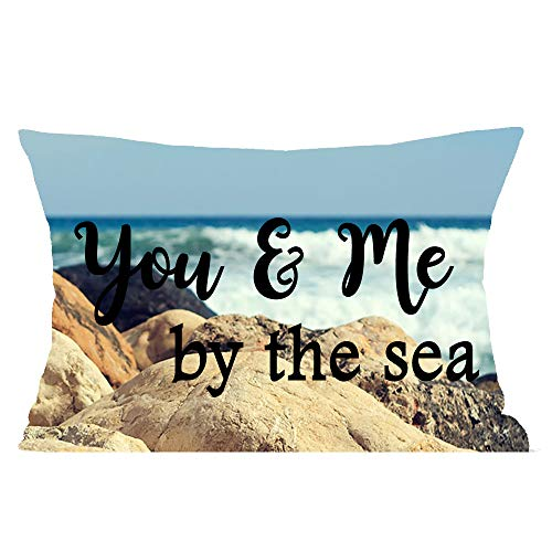 Natural Scenery Seaside Rock You Me The Sea Valentine's Day Wedding Blessing Gift Cotton Linen Square Throw Waist Pillow Case Decorative Cushion Cover Pillowcase Sofa Lumbar 12X20 inches (You Sea Cushion The Me And)