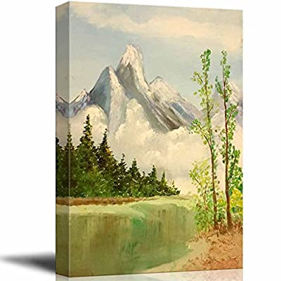 Beautiful Technique, Made With Top Quality, Beautiful Scenery of Mountain and Lake Nature Landscape at Day Time Oil Painting Reproduction