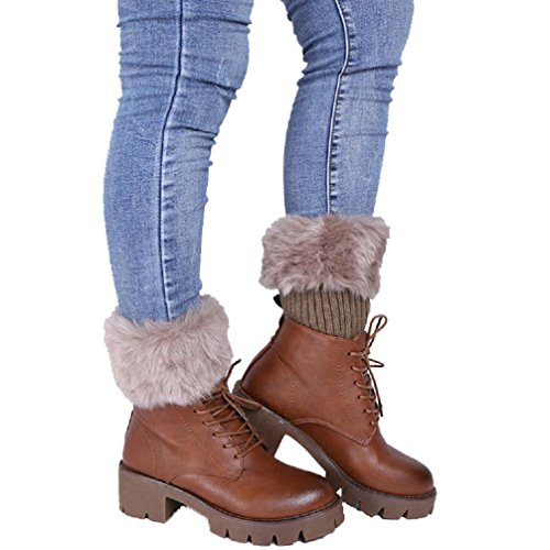 Haresle Women Winter Furry Boot Cuffs Leg Warmers Crochet Short Socks (Khaki)