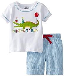 Mud Pie Baby Boys\' Birthday Boy 2 Piece Alligator Set, Multi, 12 18 Months