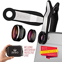 Zeso 3 in 1 Cell Phone Camera Lens Bundle with 198 Degree Fisheye Lens, 15X Macro Lens, 0.63X Wide Angle Lens and Accessories for Smart Phones - Silver (8-Items)
