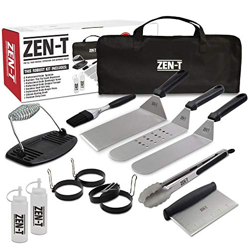 ZEN-T - 14 Piece Grill Griddle BBQ Tool Kit - Heavy Duty Professional Grade Stainless Steel BBQ Tools - Perfect Grilling Utensils for All Your Grilling Needs - Outdoor and Indoor BBQ Accessories