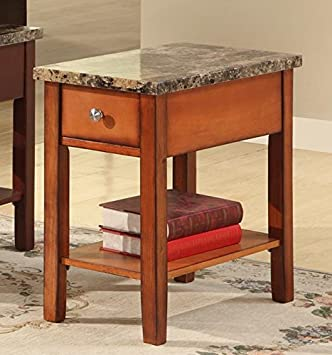 GTU Furniture Faux Marble Top Drawer Wood Side/End Table In 3 Colors (Oak