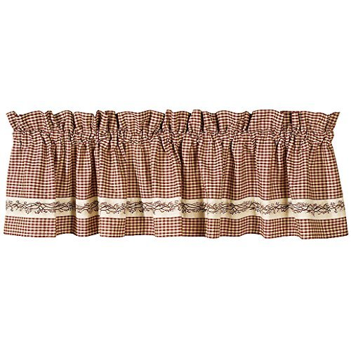Burgundy Berry Vine Country Valance (1) (Berry Curtains)