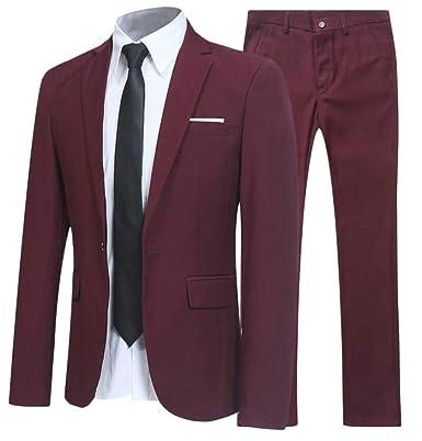 BingSai - Pantalón de Traje - para Hombre Rojo Rojo Vino XXS ...